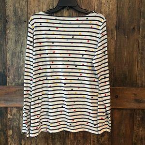 Boden, 12, White Long Sleeve T-Shirt w/Polka Dots